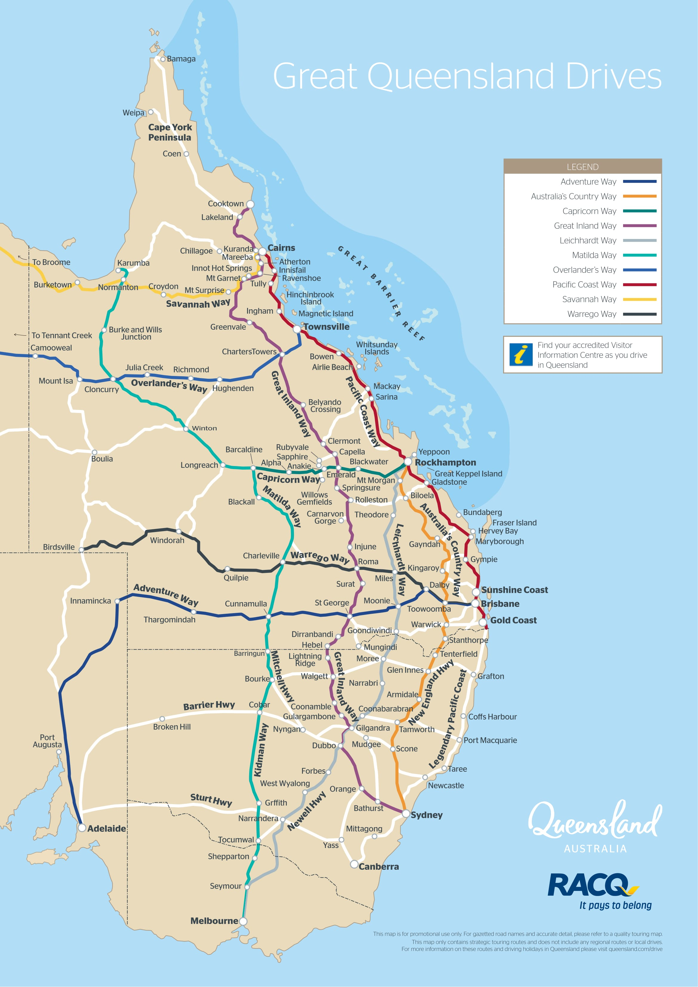 Queensland Drive Map Outback Queensland Australia - Map australia queensland