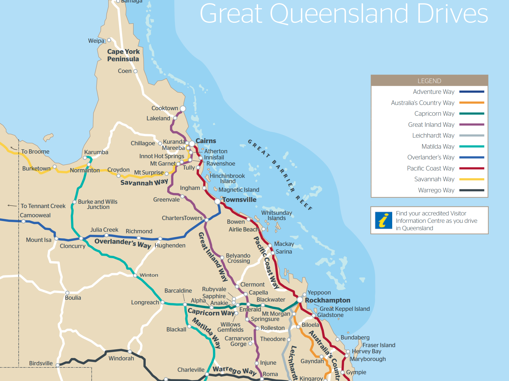Queensland Drive Map Outback QLD